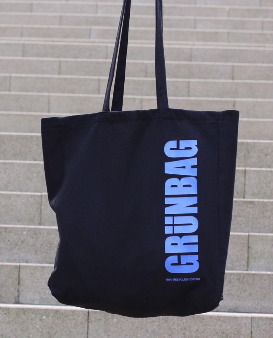 Black GRÜNBAG Tote - blue logo