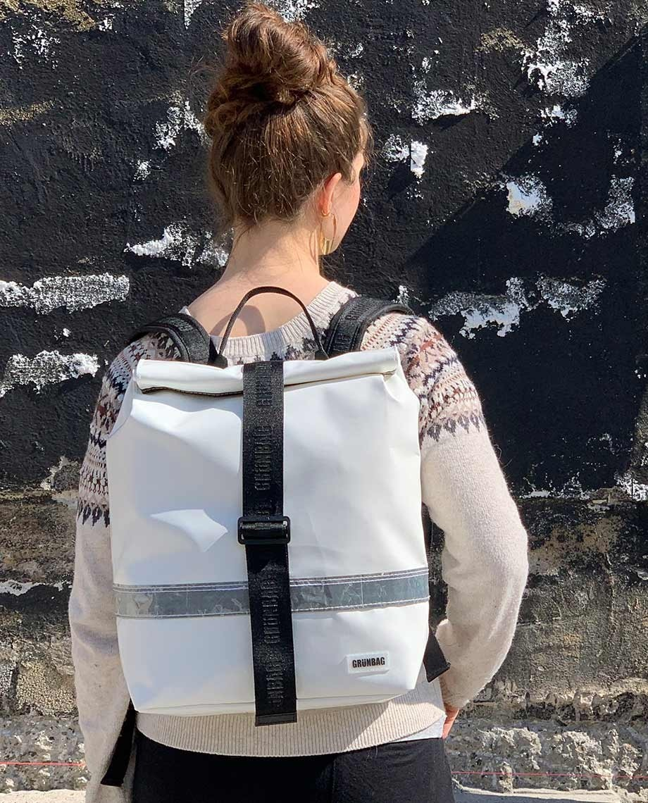 White Backpack Norr Reflection